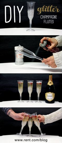 How to Make Disposable Glitter Champagne Flutes in 60 Seconds Looking for an easy way to make your holiday party a little fancier? Check out these festive and affordable glitter champagne flutes! Plastic Champagne Glasses, Glitter Glasses, Champagne Bottles, Champagne Birthday, Champagne Party, Wedding Champagne Flutes, Glitter Projects, Glitter Crafts, Diy Projects