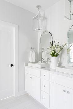 Sherwin Williams Extra White Bathroom cabinet is painted in Sherwin Williams Extra White Sherwin Williams Extra White White Bathroom Paint, White Bathroom Cabinets, White Cabinets, Bathroom Vanities, Large Bathrooms, Grey Bathrooms, Small Bathroom, Bathroom Ideas, Master Bathroom