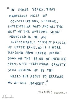 """that marvelous mess of constellations, neboulae, interstellar gaps and all the rest of the awesome show ..."" -Vladimir Nabokov"