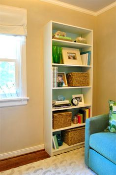 The Art of Bookshelf Arranging | One Good Thing by Jillee. I need to spend some time implementing some of these ideas so our bookshelf can be functional AND decorative. Question- paint or cover in fabric the back of the shelving unit? hmm   # Pinterest++ for iPad #