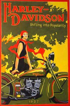 Vintage Harley-Davidson Advertising Poster 1927  Art Deco