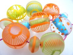 Moogin  bright summery round lampwork bead set by mooginmindy