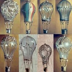 Used up light bulbs with silver embellishments.