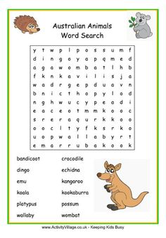 Australian animals word search for kids, puzzles, games, coloring pages printable Australian Wildlife, Australian Nursery, Australian Animals, Australian Bbq, Puzzles For Kids, Games For Kids, Activities For Kids, Crafts For Kids, Tactile Activities