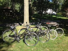My four Raleigh DL1s: a 1979 DL1L Tourist step-through, a 1973 Tourist gents roadster, a 1970 Tourist chain case version, and a replica of a 1920's path racer based on a 1978 frame and fork..