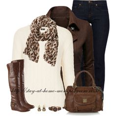 """Banana Republic Leopard Scarf"" perfect for a few brown sweaters I currently have! I do not have a cream sweater like this and would love to have one Estilo Fashion, Love Fashion, Womens Fashion, Geek Fashion, Fashion Ideas, Casual Outfits, Cute Outfits, Fashion Outfits, Boot Outfits"