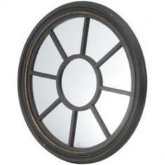 Country Round Black and Gold Mirror
