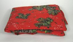 Fabric Christmas Holiday 60 x 80 Inches Pinecones Snow Tree Red Retro Quilt VTG #Unbranded