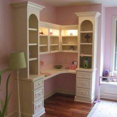 Bookcase/Desk Built-In custom made by Specks Custom Woodwork - desk in corner option