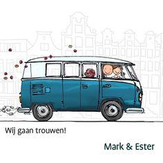 Trouwkaart VW bus spijltje T1, verkrijgbaar bij #kaartje2go voor € 1,99