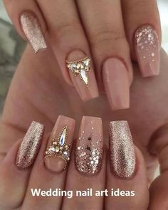 35 simple ideas for designing wedding nails - Edeline Ca. - 35 simple ideas for designing wedding nails – Edeline Ca. – 35 simple ideas for designing wedding nails – Sexy Nails, Glam Nails, Cute Nails, Pretty Nails, Sexy Nail Art, Gold Nail Art, Rose Gold Nails, Rose Gold Nail Design, Beige Nail Art