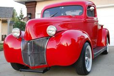 1940 Red Ford Hotrod Pickup Truck. Very sharp!