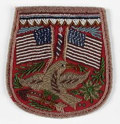 Beaded pouch with eagle and American flags and a scene of Native life on the opposite side; red, white, blue, green, and clear beads, and sequins on red cloth, c. 1880s