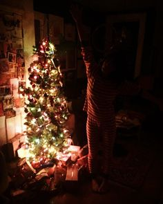 """""""O Christmas Tree, O Christmas Tree!"""" I love you @taza for making this little room glow! And for brightening our lives too."""
