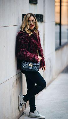 burgundy faux fur, golden goose sneakers