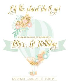 First Birthday Hot Air Balloon Invitation | www.mommylifestyled.com