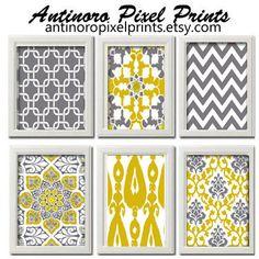 Yellow / Mustard Greys White Wall Art by antinoropixelprints, $55.00