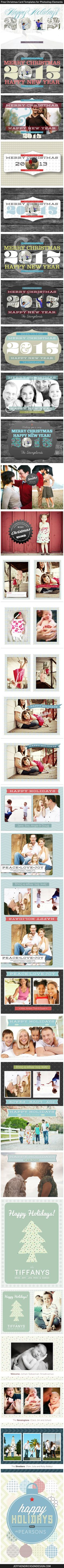 29 Free Christmas / Holiday card templates for Photoshop Elements.  Hi-res, printable 7x5 & 5x7.     @Kaeleigh Melton Mae