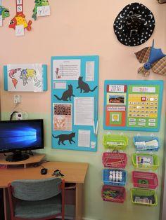 Kouzelníci z 1.B - košíčky zavěšené na háčky Montessori, Corner Desk, Teacher, School, Crafts, Inspiration, Home Decor, Corner Table, Biblical Inspiration