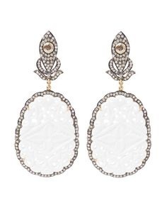Glam For Good - White Cutout & Diamond Earrings