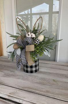 Easter centerpiece, Buffalo plaid Easter arrangement, East floral arrangement, Natural Easter colors centerpiece by DecoWreathBoutique on Etsy