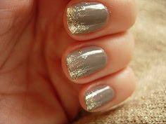 Gold glitter dip nude nails