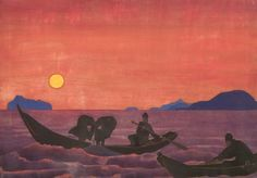 "prezygotic: "" NICHOLAS ROERICH - And We Continue Fishing (1922) "" Tempera on canvas. 71.5 x 101.5 cm "" """