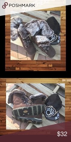 Comfort and Warmth with Sketchers Brown Suede with Faux Fur. These are like New .... Skechers Shoes Lace Up Boots