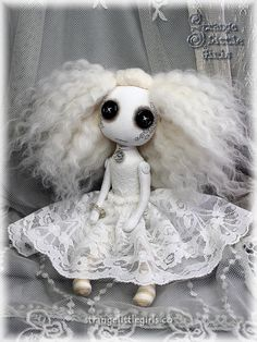 Gothic ghost art doll with button eyes Paloma Skyborne by Strange Little Girls  #strangelittlegirls #artdolls #ghostdoll