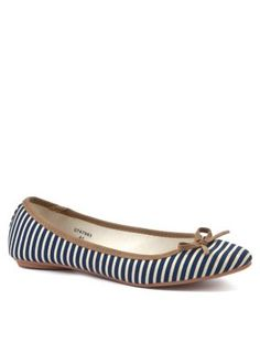 Navy and White Stripe Ballet Pumps