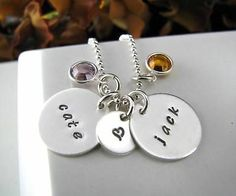 "5/8"" Sterling Silver Stamped PERSONALIZED 3 Charms Pendant Name MOM Necklace"
