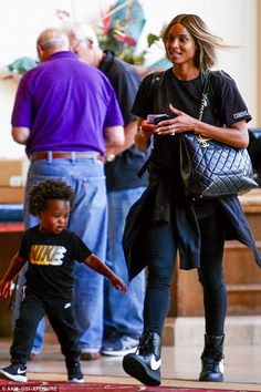 Mum and me: On Sunday, Ciara, 30, enjoyed one-on-one time with her son, Future Wilburn, tw...