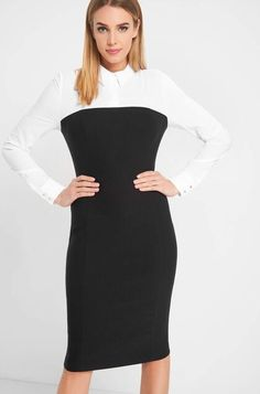 A-line dress in a figure-hugging fit Pretty Box, Dresses For Work, Formal Dresses, Trendy Outfits, High Neck Dress, Satin, Tops, Stuff To Buy, Clothes