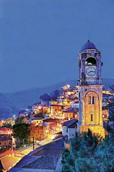 Clock tower in Dimitsana village, Arcadia region, Peloponnese, Greece Places Around The World, Around The Worlds, Corinth Canal, Greek Isles, Greece Islands, Kirchen, Greece Travel, Countries Of The World, Art And Architecture