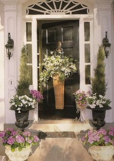 Mary Carol Garrity's Front Door with Spring Basket of Daisies