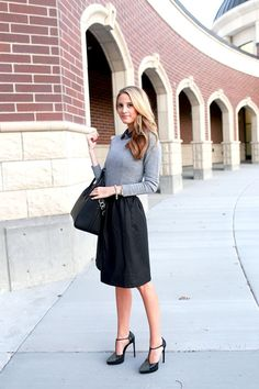 So there are loser, elegant professional skirts out there...love it with a form fitting shirt and the wrap around heels.