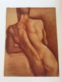 William Richardson Miller Nude Sketch, 1937 , Sepia Back Pose #anatomydrawingmale
