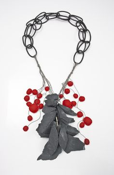 Slate Necklace with cotton, copper, silver & silk; broken, fabricated, sewn & strung - art jewellery // Emily Maija Rogstad