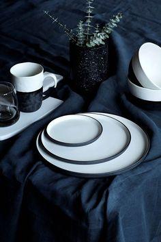 Black and White Plates from Broste Copenhagen - Mad About The House Ceramic Tableware, Ceramic Pottery, Kitchenware, Pottery Art, Assiette Design, Black And White Plates, Black White, Mad About The House, Broste Copenhagen