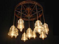 Steel Wheel / Glass Insulator Chandelier by Rustologies on Etsy, $525.00:
