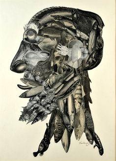 Koláž Jana Švankmajera z roku 1973 nazvaná Arcimboldeskní hlava Collage Artwork, Mixed Media Collage, Collages, Photomontage, Jan Svankmajer, Typography Prints, Profile Pictures, Digital Collage, Photo Manipulation