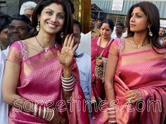 sareetimes: Shilpa Shetty in Pink Kancheepuram Saree with Embroidery Saree Blouse