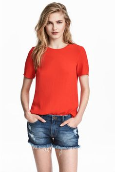 Short-sleeved top - Red - Ladies | H&M CA 1
