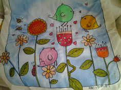 copertina baby per culla o lettino imbottita sfoderabile in cotone dipinto a mano - removable cotton quilt hand-painted for baby cot or crib