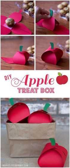 DIY Apple Treat Box with you Silhouette Teacher Appreciation Gifts, Teacher Gifts, Diy Paper, Paper Crafts, Apple Boxes, Apple Theme, Diy Box, Keepsake Boxes, Diy Gifts