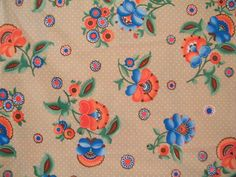 Polyester Floral and Tan Fabric 2 1/8 Yards 60 by UsedDingsNDents