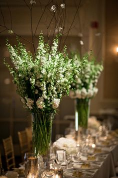 beautiful tall green centerpieces | Cunningham Photo Artists #wedding