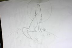 Wolf Howling,drawn by me using a tuitorial on YouTube by Art ala Carte.