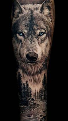 Wolf Face Tattoo, Wolf Tattoo Forearm, Wolf Tattoos Men, Cool Arm Tattoos, Best Sleeve Tattoos, Wolf Tattoo Shoulder, Forest Tattoo Sleeve, Animal Sleeve Tattoo, Lion Tattoo Sleeves