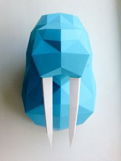 Голова моржа Шаблон для печати paper craft low poly от PolyFish